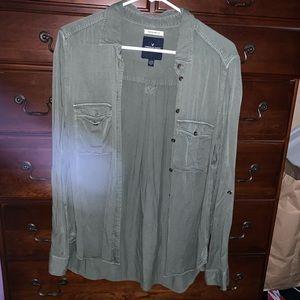 American Eagle Army Green Button-Down Shirt